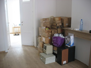 Packing boxes moved to the future living room