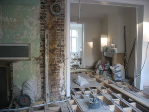 Walls and flooring removed, October 2012